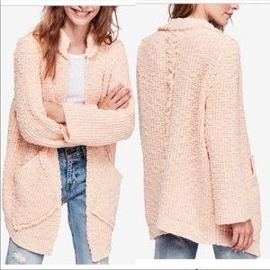 "NWT. FREE PEOPLE Chunky knit ""Peach Fuzz"" Cardigan"